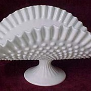 SALE Fenton Milk Glass Hobnail Low Banana Bowl #3720MI