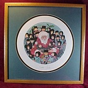 "SALE P. Buckley Moss Framed Print ""Santa's Friends"" - 1988"