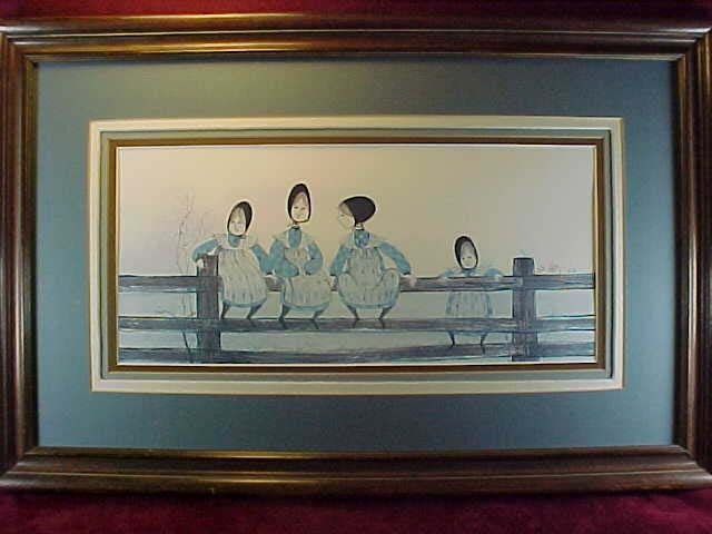 "P. Buckley Moss Framed Print, ""Waiting For Tom"" - 1982"