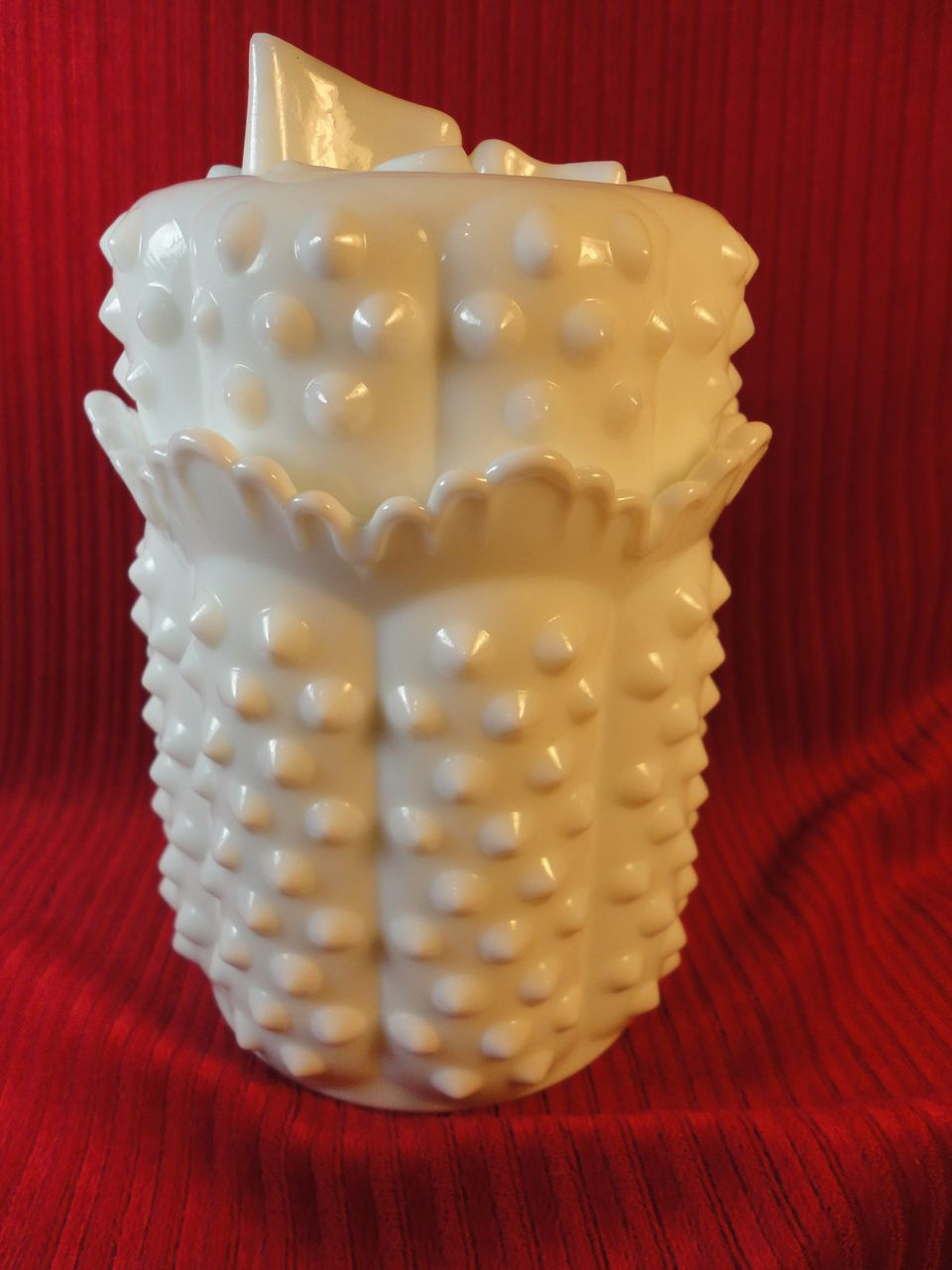 Fenton's Milk Glass Hobnail Covered Candy w/Butterfly Lid #3600MI