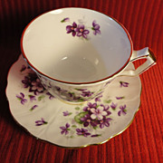 "Aynsley ""Violette"" Cup/Saucer, English Bone China (2 available)"