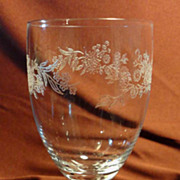 SALE Fostoria &quot;Fleurette&quot; Water Goblet, Crystal Print #26 - 1972-1974 (8 available)