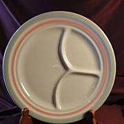 Shenango China, RimRol WelRoc 1950s Pink and Grey Grille Plate (8 available)