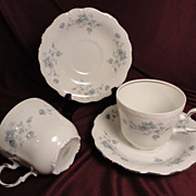 Johann Haviland &quot;Blue Garland&quot; Flat Cups/Saucers w/Bavarian Backstamp (2 sets of 2 a