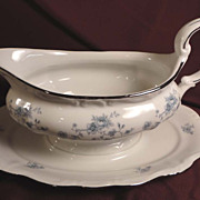 Johann Haviland &quot;Blue Garland&quot; Gravy Boat and Underplate