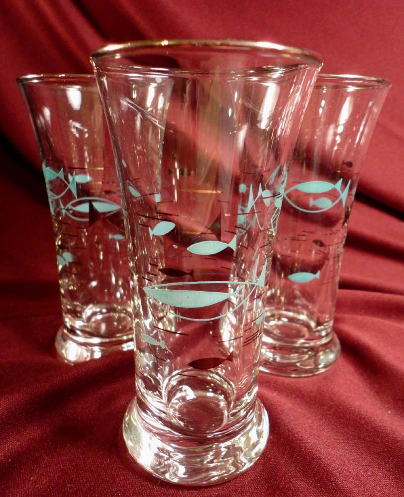 Libbey Atomic Fish (Mediterranean) Juice Glasses (8 sets of 3 available)