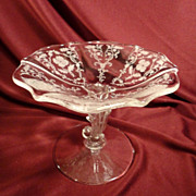 Fostoria &quot;Shirley&quot; Etch on Baroque Pedestal BonBon