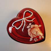 Westmoreland Ruby Heart w/Handpainted Roses, Signed - 1979