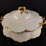 Haviland Covered Serving Bowl in Ranson Blank w/Gold, Ribbon/Bow