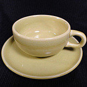 Russel Wright American Modern (1939-59) Chartreuse Cup/Saucer Sets (8 available)