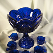 Child's Cobalt Punch Bowl and Cups - Whirling Star
