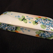 Forget-Me-Not, Hand-Painted Oblong Covered Box for Vanity