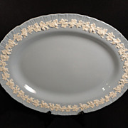 "Wedgwood's Embossed Queen's Ware Ivory on Lavender 14"" Platter"