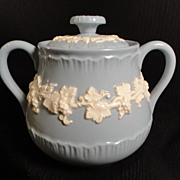 Wedgwood Embossed Queen's Ware Ivory on Lavender Sugar Bowl