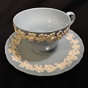 Wedgwood Queen's Ware Embossed Cream on Lavender w/Shell Edge Cup/Saucer Set (8 available)