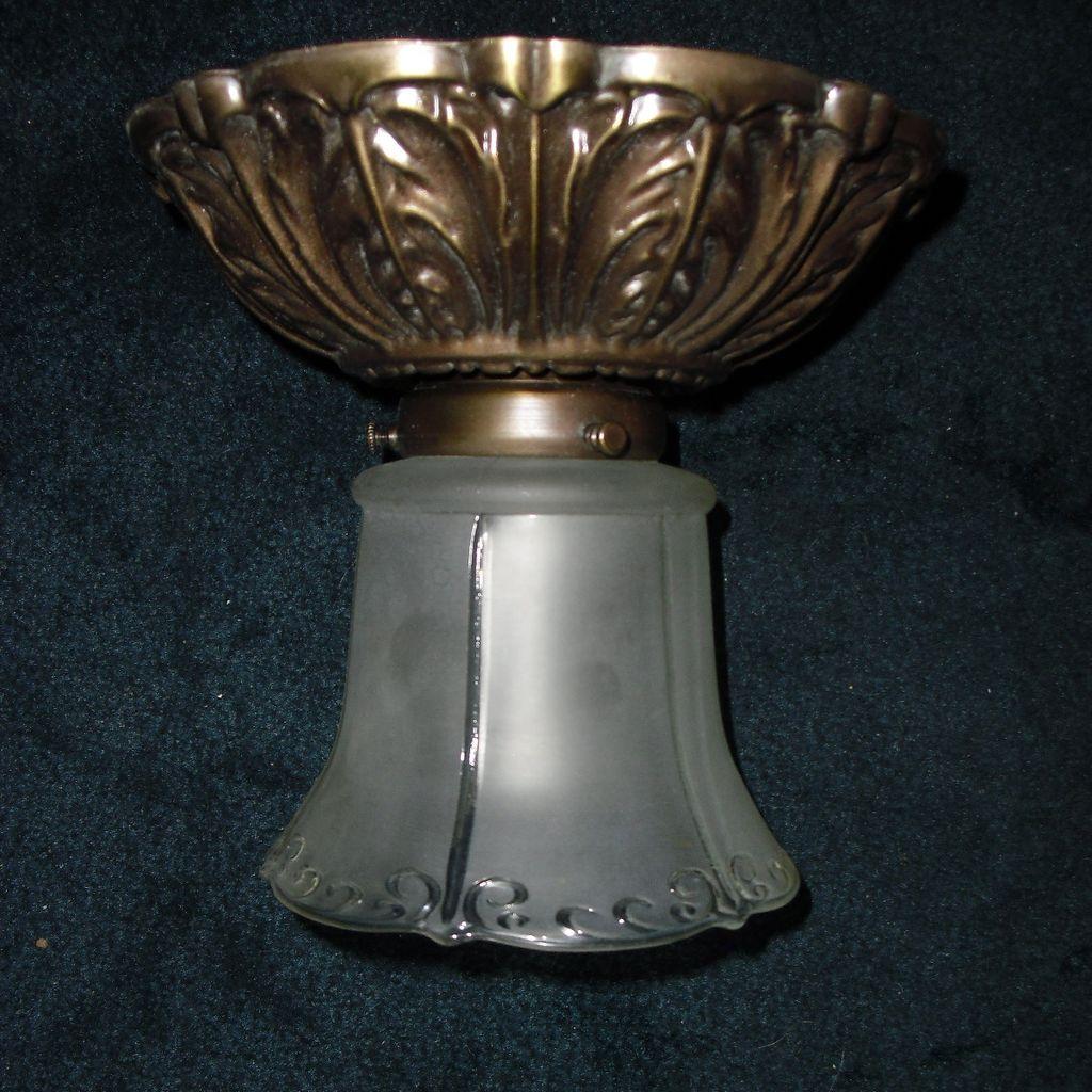 Antique Lighting Ventura : Gillinder glass shade on flush mount ceiling light