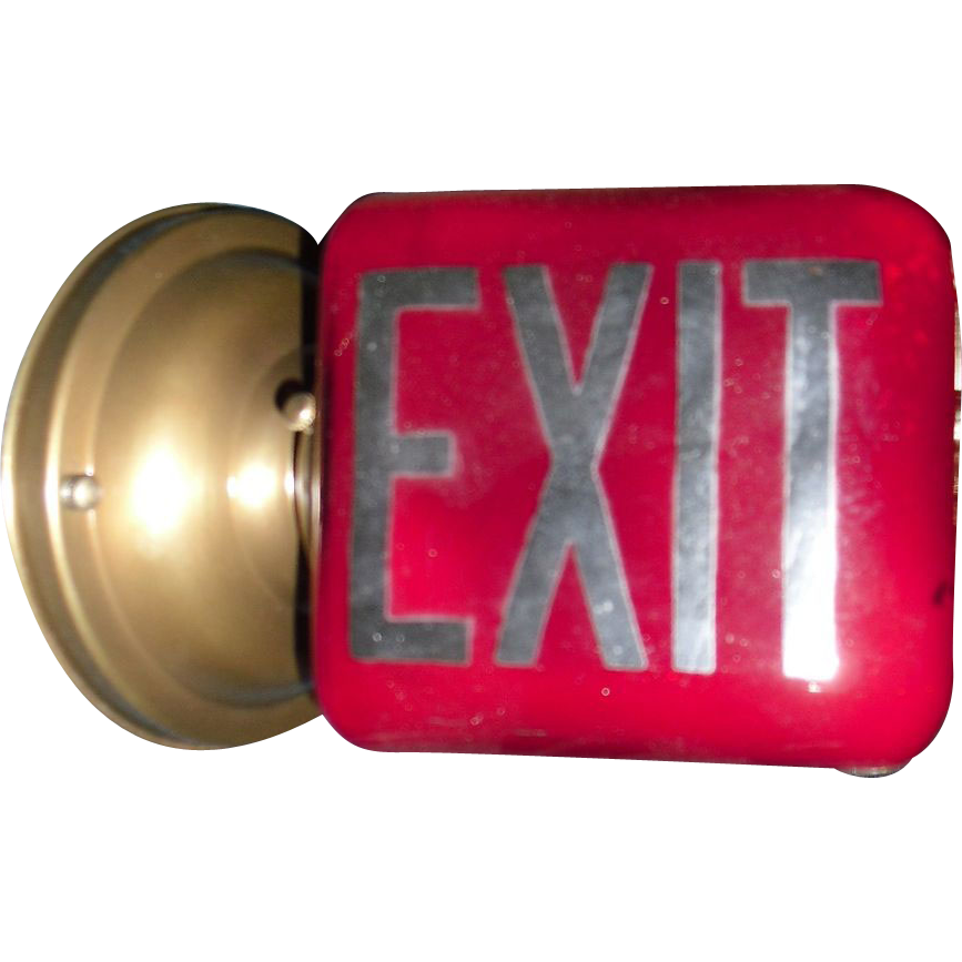 Antique Red Glass Exit Sign