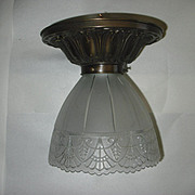 Gillinder Glass Shade on Flush Mount Ceiling Light - 2 available