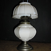 Miniature Kerosene Oil Lamp - Ribbed Milk Glass