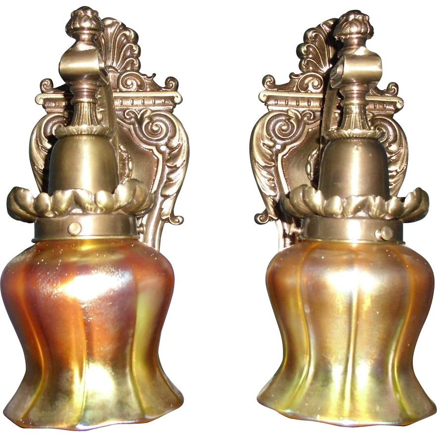 Cast Brass Sconces with Quezal Art Glass Shades from