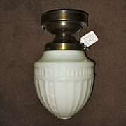 Classic Flush Mount Ceiling Light w Embossed White Shade