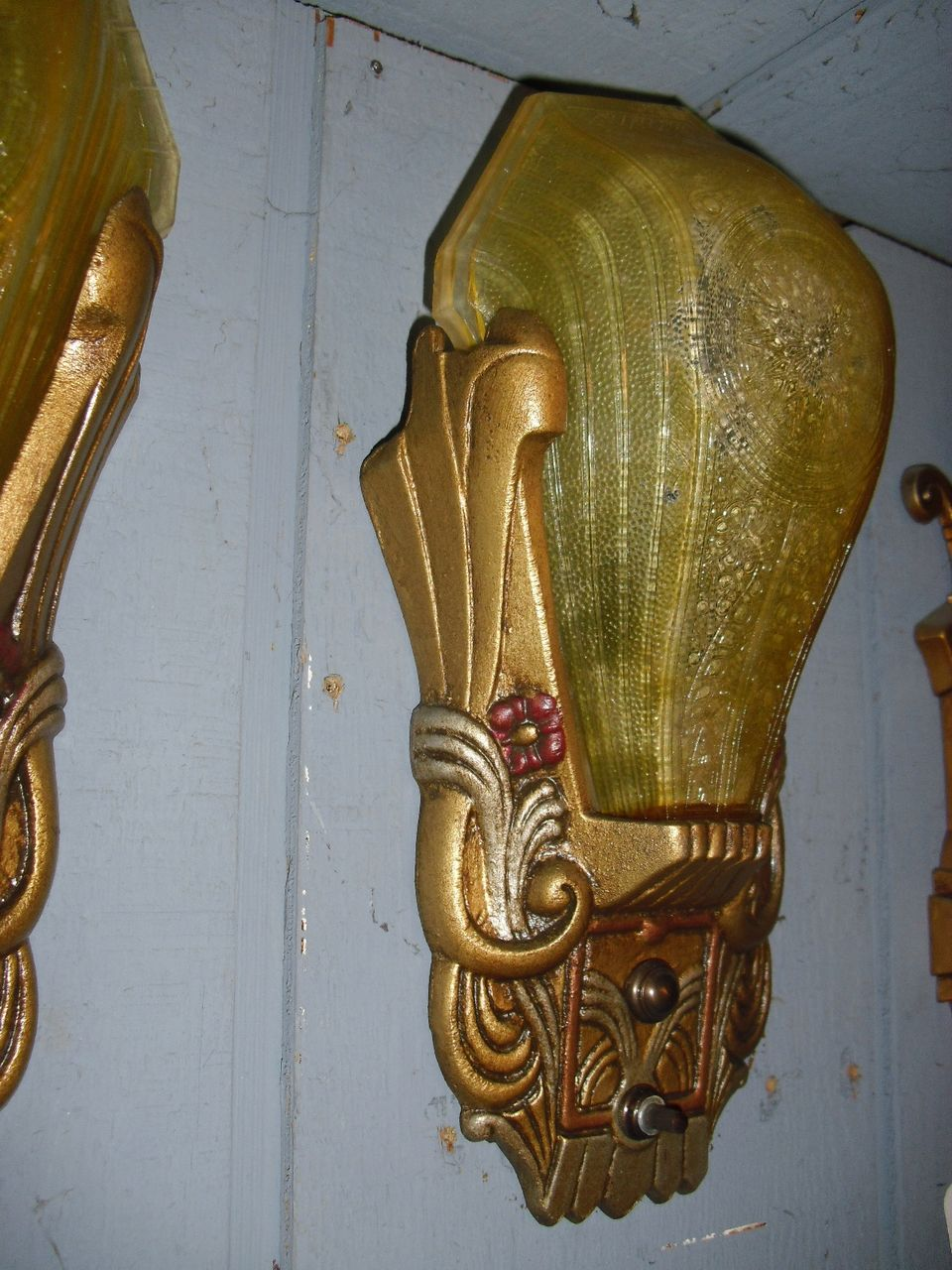 Art Deco Slip Shade Wall Sconces : Art Deco Slip Shade Wall Sconces - Riddle - 2 pairs available from sherlocksantiquelights on ...