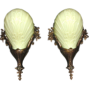Cast Bronze Art Deco Slip Shade Sconces - Midwest Lighting