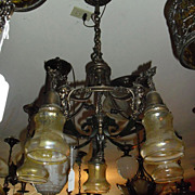 Transitional Decorated Iron & Brass 5 Light Chandelier