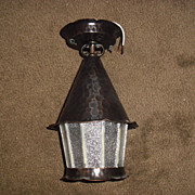 Arts & Crafts Copper w Leaded Glass Porch Light
