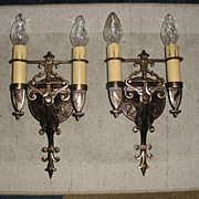 Tudor Cast Bronze Wall Sconces - 2 Pairs Available