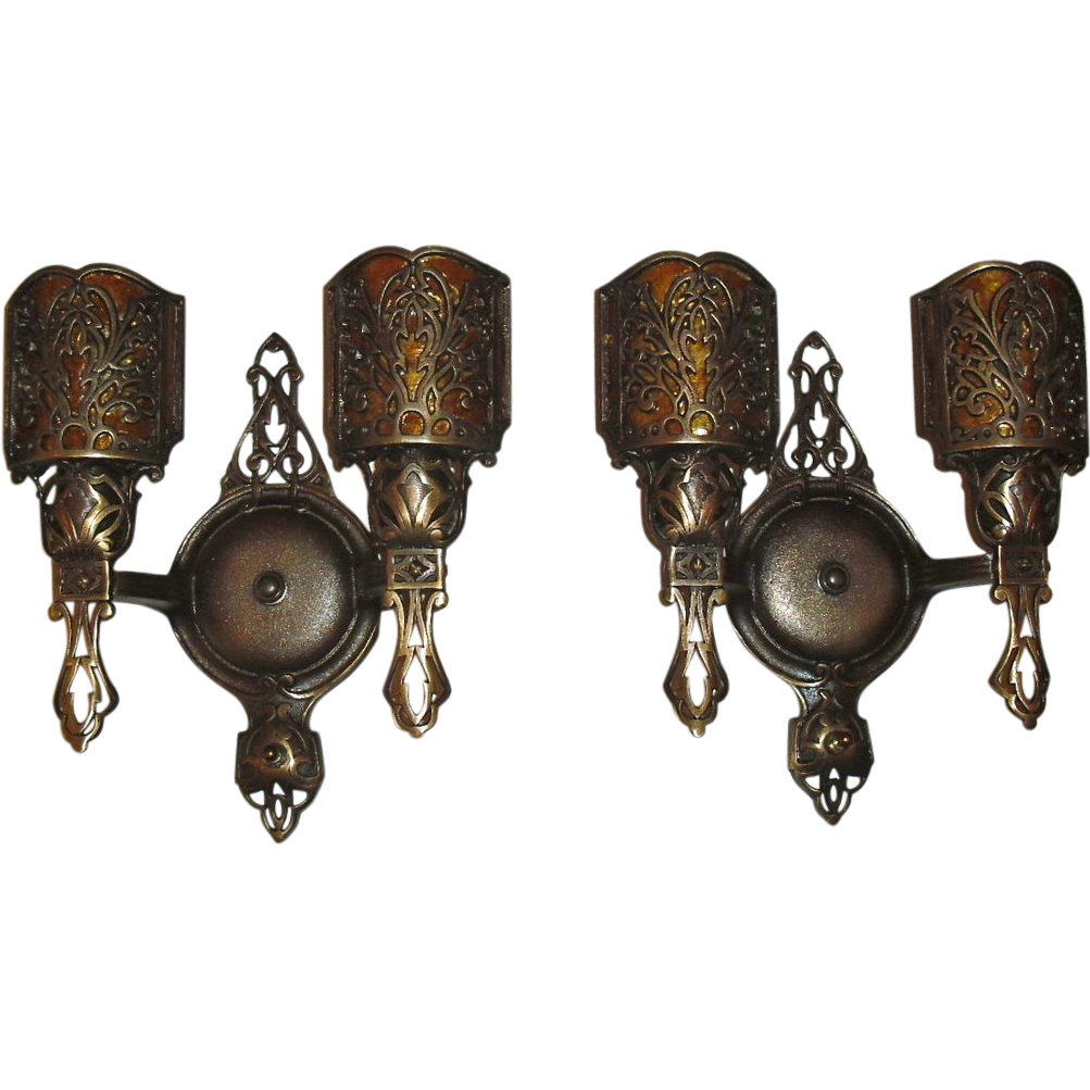 Decorative Cast Bronze Two Light Wall Sconces w Mica Shields from sherlocksantiquelights on Ruby ...