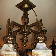 Arts & Crafts Chandelier with Slag Glass Shades