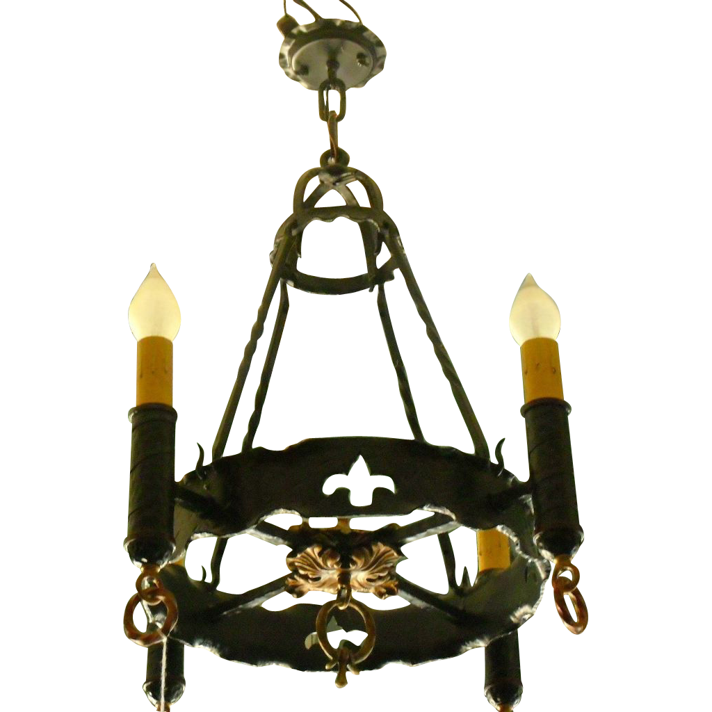 Spanish Revival 4 Light Chandelier From