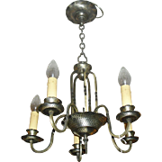 Tudor 5 Light Chandelier - Original Silver Plate over Brass