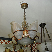 Art Deco 6 Light Slip Shade Chandelier - Markel