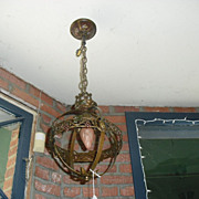 Spanish Revival Iron w Polychrome Hall Pendant Light - Moe Bridges