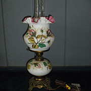 Fenton Table Lamp - Hand-painted, Cased Glass, in Moss Rose Pattern