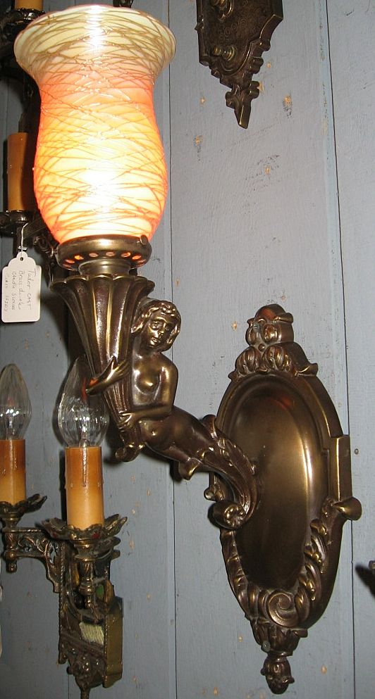 Spectacular Cast Brass Mermaid Wall Sconce with Quezal Shade from