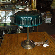Emeralite Desk Lamp w Decorated Green Cased Glass Shade