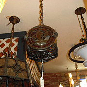 2 Spanish Revival Hall Light Fixtures with Spanish Galleons