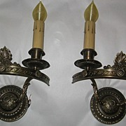 Neoclassical Cast Brass Double Candle Sconces - Lion Manufacturing