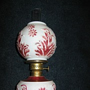 Miniature Kerosene Oil Lamp with Embossed Milk Glass Base and Shade