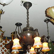 Classic 5 Light Cast Brass Chandelier with Steuben Pulled Feather Art Glass Shades