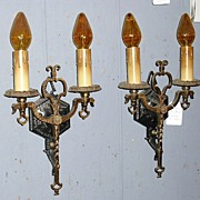 Spanish Revival Iron & Brass Double Candle Wall Sconces -4 available