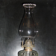 Early Bullseye & Fleur de leis Kerosene Oil Lamp w Marble Base