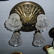 Neoclassical 4 Light Ceiling Fixture w Deep Etched Glass Shades