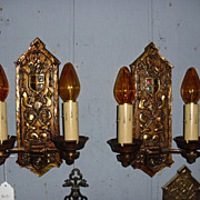 Gothic Cast Bronze Double Candle Sconces