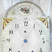 Early Signed McKensy Wooden Painted Tall Clock Face