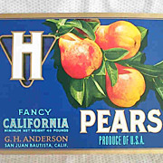 REDUCED H Pears Original Fruit Label
