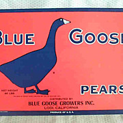 REDUCED Blue Goose Pears Original Fruit Label
